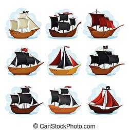 Pirate Sailing Ship with Square Rigged Masts Navigating Upon Water Vector Set. Corvette or Frigate with Wooden Deck and Buccaneer Flag for Conducting Piracy and Coastal Robbery Concept
