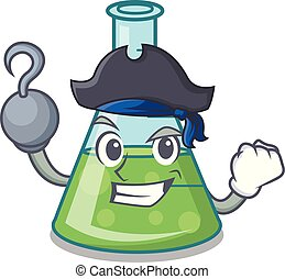 Pirate science beaker character cartoon