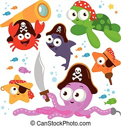 Pirate sea animals. Vector illustration collection
