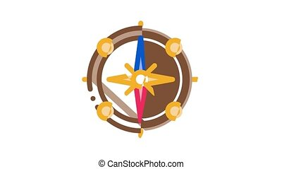 Pirate Sea Bandit Tool Icon Animation Pirate Saber And Spyglass, Steering Rudder, Crossed Bones And Skull Flag