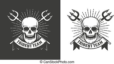 Pirate sea emblem with skull and crossed tridents