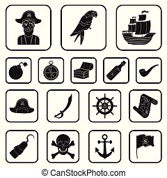 Pirate, sea robber black icons in set collection for design. Treasures, attributes vector symbol stock web illustration.