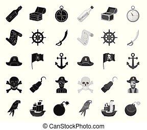 Pirate, sea robber black. mono icons in set collection for design. Treasures, attributes vector symbol stock web illustration.