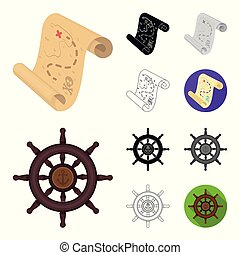 Pirate, sea robber cartoon, black, flat, monochrome, outline icons in set collection for design. Treasures, attributes vector symbol stock web illustration.