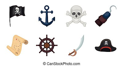 Pirate, sea robber icons in set collection for design. Treasures, attributes vector symbol stock web illustration.