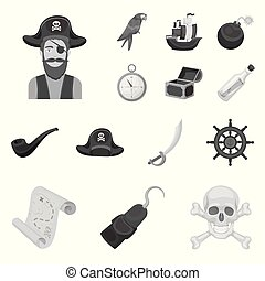 Pirate, sea robber monochrome icons in set collection for design. Treasures, attributes vector symbol stock web illustration.