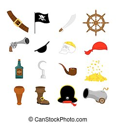 Pirate set icon. Flag and saber. piratical hat and wooden leg. Eye patch and rum. Pistol and helm. skull and cannon. Vector illustration