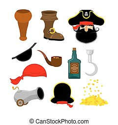 Pirate set. Pirates hat. Eye patch and smoking pipe. Bones and skull. Wooden foot. Gold coins. Rum bottle and cannon