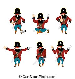 Pirate set poses and motion. filibuster happy and yoga.  buccaneer sleeping and angry. rover guilty and sad. Vector illustration