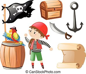 Pirate set with many items and pirate