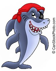 Pirate shark - Blue pirate shark - color illustration.