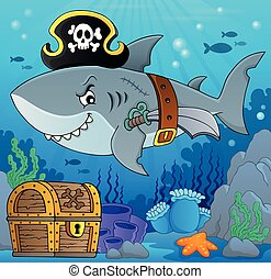Pirate shark topic image 5 - eps10 vector illustration.