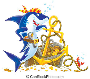pirate shark with a treasure chest - Great white shark with ...