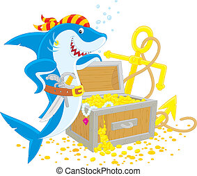 pirate shark with a treasure chest - Great white shark with...