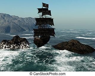 Pirate Ship 1 - a pirate ship sails through the coastal