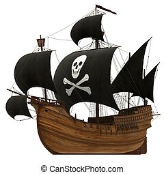 Pirate Ship. 3D Model On A White Background.