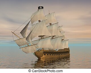 Pirate ship holding black Jolly Roger flag and floating on the ocean by cloudy sunset