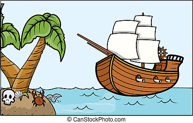 Pirate Ship and Tropical Island