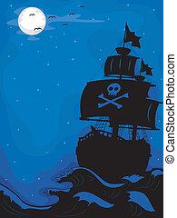 Pirate Ship at Night - Illustration of a Pirate Ship sailing...