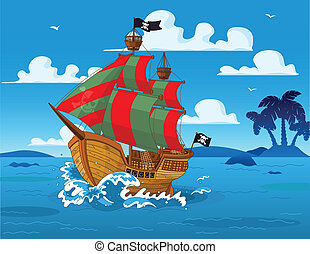 Pirate ship at sea - Pirate ship sails the seas