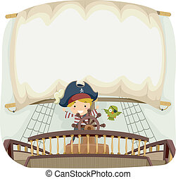 Pirate Ship Banner - Banner Illustration with a Pirate Theme