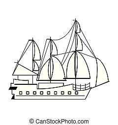 Pirate ship boat side view isolated cartoon in black and white