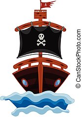 Pirate Ship Cartoon Vector