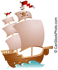 Pirate Ship with Clipping Path