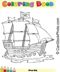 Pirate Ship Coloring Book Page Cartoon Character