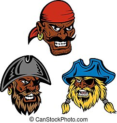 Pirate ship crew with black captain and sailors