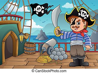 Pirate ship deck thematics 3 - eps10 vector illustration.