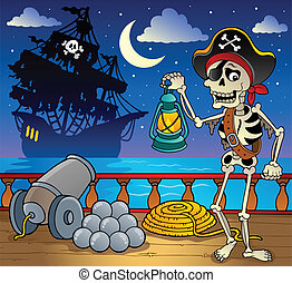 Pirate ship deck theme 7 - vector illustration.