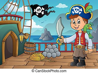 Pirate ship deck topic 6 - eps10 vector illustration.