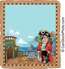 Pirate ship deck topic parchment 1 - eps10 vector...