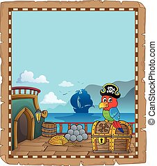 Pirate ship deck topic parchment 6 - eps10 vector...