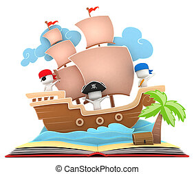Pirate Ship - 3D Illustration of Kids Playing in a Pirate...