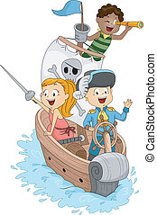 Pirate Ship - Illustration of Kids in a Pirate Ship