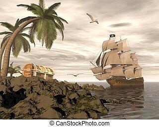 Pirate ship finding treasure - 3D render - Pirate ship...