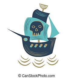 Pirate ship flat color illustration on white