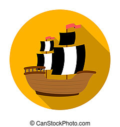 Pirate ship icon in flat style isolated on white background. Pirates symbol stock rastr illustration.