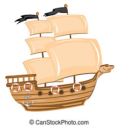 Pirate ship - Illustration pirate ship on white background...