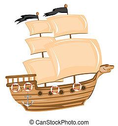 Pirate ship - Illustration pirate ship on white background...