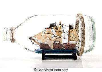 A Pirate Ship in a glass Bottle