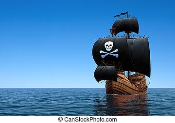 Pirate Ship In Blue Ocean