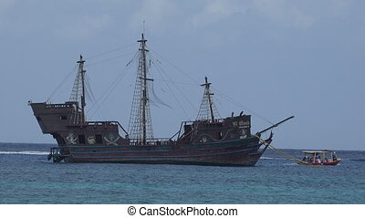 Pirate Ship in Cozumel, Mexico Harb - Pirate ship moored in...