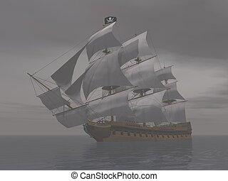 Pirate ship in fog- 3D render - Pirate ship holding black...