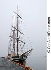 Pirate Ship in Fog