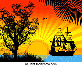 Pirate ship in ocean at sunset, vector illustration
