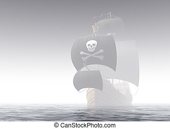 Pirate Ship In The Fog