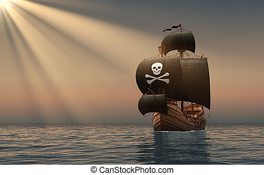 Pirate Ship In The Rays Of Sun